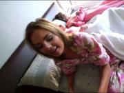 Three pretty teen besties suck and pounded in the bedro