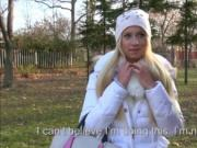 Horny blonde Eurobabe Kiara pussy fucked in the woods