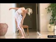 Super hot blonde gymnast stretching naked body