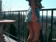 Sex doll brunette walking outdoor shows her pussy upski
