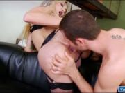 Busty shemale Eva Paradis is dick sucked and anal fucks