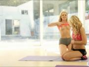 Yoga session turns into lesbian action of two blonde gi