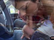 Busty latina gets babe railed in the car