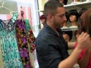 Hot ass MILF flashing assets in a store seduces a teen