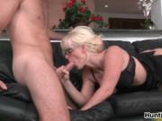 Nasty blonde milf from MilfHunter goes crazy sucking on