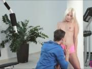 Flexible blonde babe Jessie Volt anal pounded in the gy