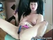 Incredible hot brunette with great tits fucks her moist