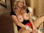 Busty blonde babe dildo fucks her wet pussy by AzianiRa