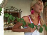 Blonde hottie Sasha using her shorts to rub pussy outdo