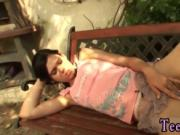 Adorable blowjob Miho gets pounded in the backyard