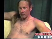 Stud Freddyz with long hair strokes his fat meat on a b