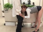 Office girl from Japan with a great ass sucking dick by