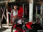 Amazing hot body ebony chick Skin Diamond posing on the