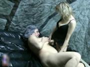 Nasty blonde slut gets horny masturbating an old cunt b