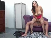 Thick Latina girl riding a big dick with her wet pussy