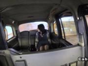 Pierced woman fucks in fake taxi in public car park