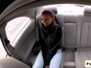 Redhead amateur wanks huge dick in car