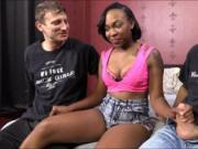 Black chick Nikki Ford sucking and fucking with white g