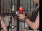 Two girls who are tied up getting big dildo in their mu