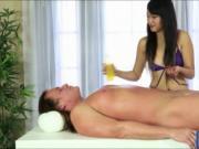 Sexy masseuse handjobs her clients cock til she got a f
