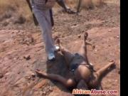 Round African booty gets spanked hard