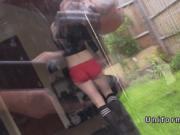 Fake cop spys blonde teen from backyard
