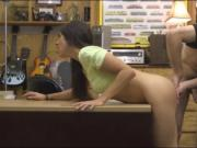 Brunette pussy rammed in the back room