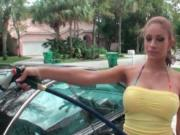 Busty latina siren washing the car in her swim suit