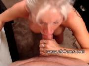 Busty hot blonde sucks cock and eats cum