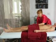 Hot redhead masseuse gets her ass rimmed on massage tab