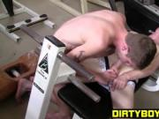 Workout buddies take a break to work on their buttholes