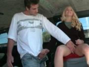 Smoking hot blonde blowing dick in the sex bus