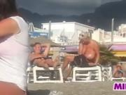 Spying On A Fat Mother At A Beach