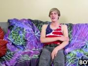 Playful blonde twink Kyler Hodes wanks his cock for the
