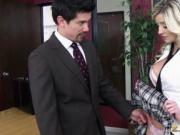 Busty schoolgirl Sienna Day fucked a teachers fat cock