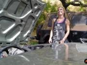 Blonde chick selling her car and pussy