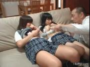 Three naughty schoolgirls from Asia and 1 horny man by