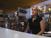 Fucking busty bartender at work for cash