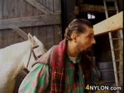 Interracial Group Sex In The Barn