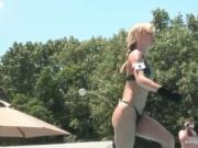Horny blond slut getting nude in outdoor and fingers he