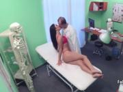 Red lingerie gal fucks doctor on exam