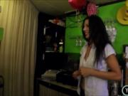 Tight bar employee Alexa Tomas flashes her tits and nai