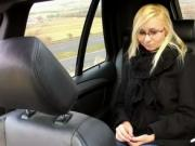Blonde fucks in fake taxi beside highway