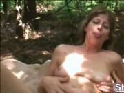 Granny Judita rides stiff cock in forest