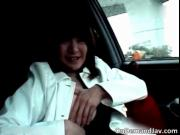 Aroused slutty asian whore showing boobs in the car by