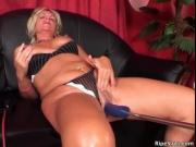 Fat blonde slut with huge juggs bends over and takes a