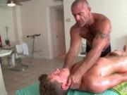 Gay masseur shoving his hard cock in tight butt
