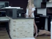 Stunning blondie pornstar Angelica ripped in the kitche