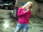 Hot blond Eurobabe Ellen fucked in the parking lot for