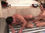 Sexy couple gets horny while woman sucks big white dick